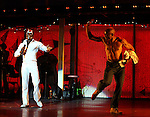 Sahr Ngaujah & Bill T. Jones.during the opening night Curtain Call for the Broadway limited engagement of 'Fela!' at the Al Hirschfeld Theatre on July 12, 2012 in New York City.