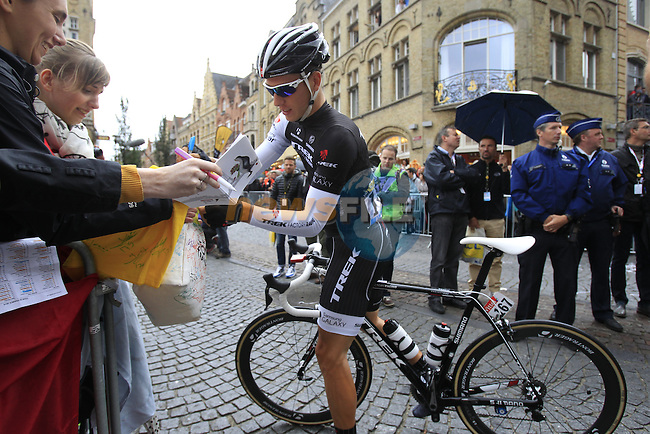 Danny Van Poppel (NED) Trek Factory Racing at sign on in Ypres before the start of the cobbled stage Stage 5 of the 2014 Tour de France running 155.5km from Ypres to Arenberg. 9th July 2014.<br /> Picture: Eoin Clarke www.newsfile.ie