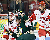 Ben Albertson (Vermont - 18), Ben Rosen (BU - 8) - The visiting University of Vermont Catamounts tied the Boston University Terriers 3-3 in the opening game of their weekend series at Agganis Arena in Boston, Massachusetts, on Friday, February 25, 2011.