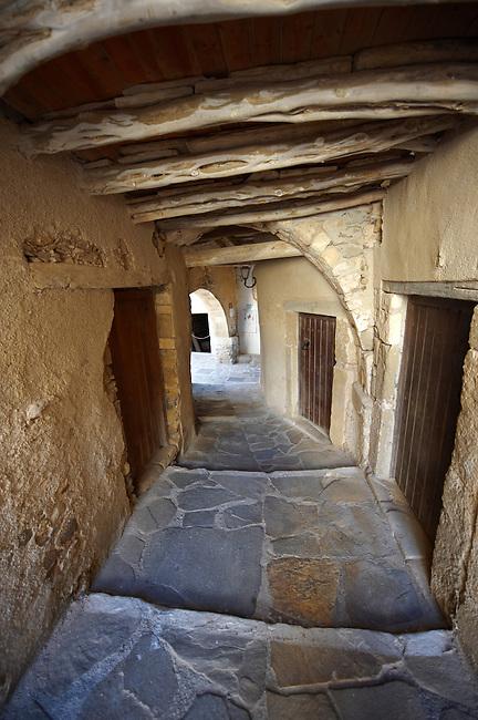 Narrow streets of Naxos town. Greek Cyclades Islands Greece