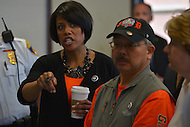 April 26, 2013  (Baltimore, Maryland)  Baltimore Mayor Stephanie Rawlings-Blake (l) provides San Francisco Mayor Edwin M. Lee (r) with a tour of a Baltimore police station. Mayor Lee visited Baltimore for a day of community service. (Photo by Don Baxter/Media Images International)