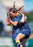 1 September 2019: Merrimack College Warrior Forward Molly Murnane, a Freshman from Scarborough, Maine, hugs Forward Izzy McDonnell, a Junior from Fall River, MA, after Izzy scored the game tying goal in second half action against the University of Vermont Catamounts in Game 3 of the TD Bank Women's Soccer Classic at Virtue Field in Burlington, Vermont. The Lady Warriors rallied in the second half to defeat the Catamounts 2-1. Mandatory Credit: Ed Wolfstein Photo *** RAW (NEF) Image File Available ***