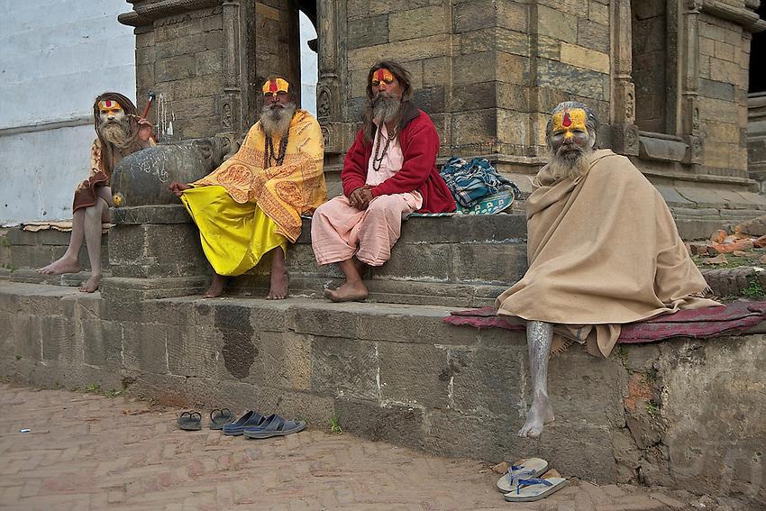 Sadhus at the Shambhu Nath Hindu traditional Cremation Area, Kathmandu, Nepal