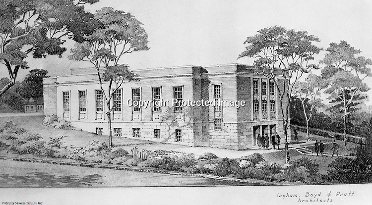 Pittsburgh PA:  View of an Ingham, Boyd and Pratt Architect's rendering of the Pennsylvania College for Women's new Physical Education Building - 1949.  Pennsylvania College for Women changed it's name in 1955 to Chatham College.