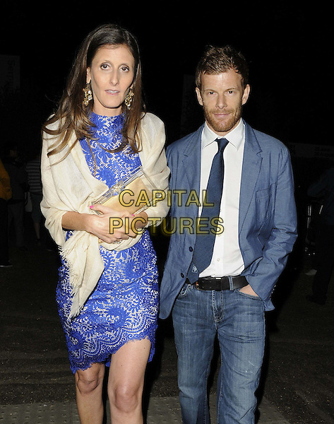 guest &amp; Tom Aikens<br /> The Serpentine Gallery Summer Party, Serpentine Gallery, Kensington Gardens, Hyde Park, London, England.<br /> June 26th, 2013<br /> half length blue suit white shirt dress lace jacket jeans denim white wrap shawl beard facial hair<br /> CAP/CAN<br /> &copy;Can Nguyen/Capital Pictures