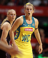 20.10.2015 Australia's Gabi Simpson in action during the Silver Ferns v Australian Diamonds netball test match played ay Horncastle Arena in Christchruch. Mandatory Photo Credit ©Michael Bradley.