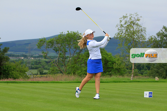 Bronte Law on the 2nd tee during the Friday morning Foursomes of the 2016 Curtis Cup at Dun Laoghaire Golf Club on Friday 10th June 2016.<br /> Picture:  Golffile | Thos Caffrey