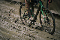 plowing through the sticky mud<br /> <br /> Elite Men's Race<br /> GP Sven Nys / Belgium 2018