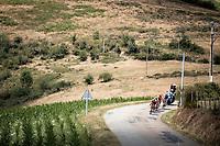 break away group with Thomas De Gendt (BEL/Lotto Soudal), Ben King (USA/Dimension Data), Alessandro De Marchi (ITA/CCC) and Niki Terpstra (NED/total - direct energie) descending.<br /> <br /> Stage 8: Macon to Saint-Etienne (200km)<br /> 106th Tour de France 2019 (2.UWT)<br /> <br /> ©kramon