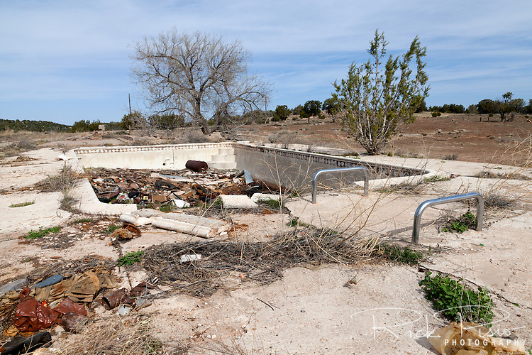 The Hyde Park swimming pool lies in ruins at Hyde Park along Route 66 in Arizona.