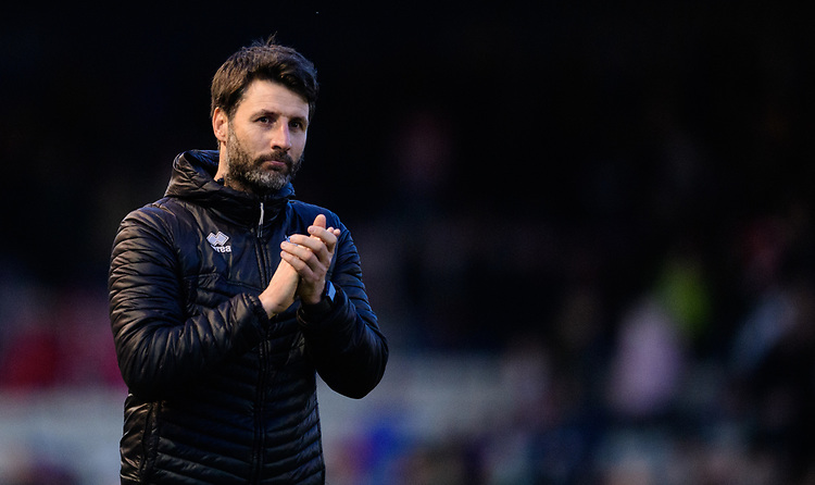 Lincoln City manager Danny Cowley applauds the fans at the final whistle<br /> <br /> Photographer Chris Vaughan/CameraSport<br /> <br /> The EFL Sky Bet League Two - Lincoln City v Northampton Town - Saturday 9th February 2019 - Sincil Bank - Lincoln<br /> <br /> World Copyright &copy; 2019 CameraSport. All rights reserved. 43 Linden Ave. Countesthorpe. Leicester. England. LE8 5PG - Tel: +44 (0) 116 277 4147 - admin@camerasport.com - www.camerasport.com
