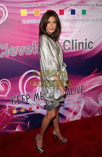 TERI HATCHER .The 15th Annual Keep Memory Alive's Power of Love Gala to benefit Cleveland Clinic Lou Ruvo Center at the Bellagio Resort Hotel and Casino,  Las Vegas, Nevada, USA, 26th February 2011..full length side dress peep toe open shoes clutch bag  grey gray silver silk satin studded .CAP/ADM/MJT.© MJT/AdMedia/Capital Pictures.