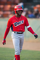 Jordon Adell (13) of the Orem Owlz walks back to the dugout during the game against the Helena Brewers at Kindrick Legion Field on August 17, 2017 in Helena, Montana.  The Owlz defeated the Brewers 5-2.  (Brian Westerholt/Four Seam Images)