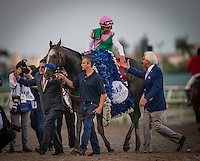 HALLANDALE BEACH, FL - JAN 28: Mike Smith shakes hands with trainer Bob Baffert after winning the Pegasus World Cup with Arrogate #1 at Gulfstream Park Race Course on January 28, 2017 in Hallandale Beach, Florida. (Photo by Alex Evers/Eclipse Sportswire/Getty Images)