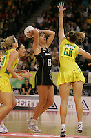 21.07.2007 Silver Ferns Irene Van Dyk and Australia's Bianca Chatfield in action during the Silver Ferns v Australia Netball Test Match at Vodafone Arena, Melbourne Australia. The Silver Ferns won 67-65 after double extra time. Mandatory Photo Credit ©Michael Bradley. **$150 + GST USAGE FEE DOES APPLY**