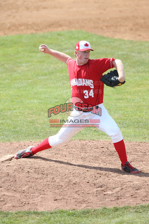 Sean Ratcliffe (34) of the Vancouver Canadians pitches during a game against the Eugene Emeralds at Nat Bailey Stadium on July 22, 2015 in Vancouver, British Columbia. Vancouver defeated Eugene, 4-2. (Larry Goren/Four Seam Images)