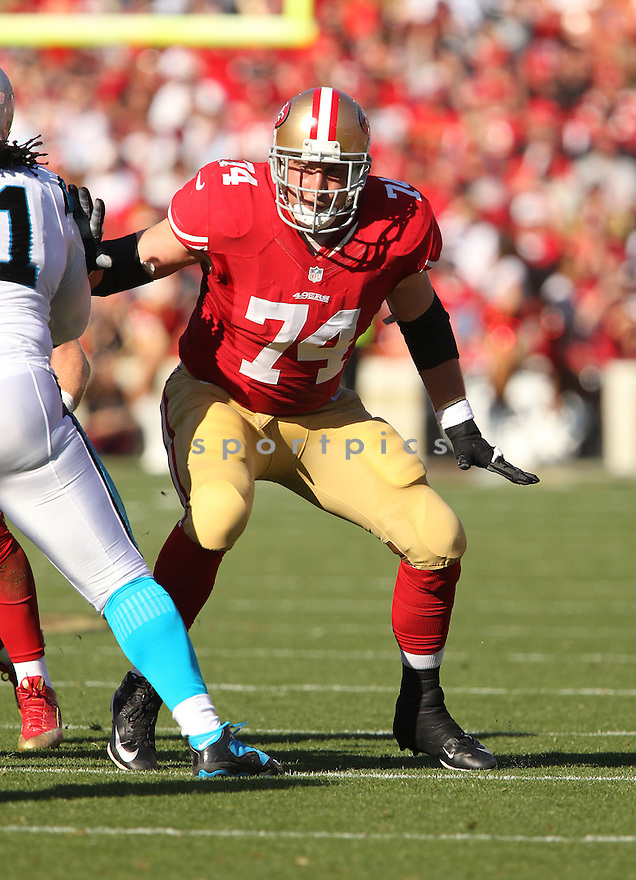 San Francisco 49ers Joe Staley (74) during a game against the Carolina Panthers on November 10, 2013 at Candlestick Stadium in San Francisco, CA. The Panthers beat the 49ers 10-9.