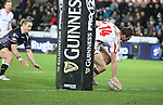 Wing Tommy Bowe crosses to score a try for Ulster.<br /> Guiness Pro12<br /> Ospreys v Ulster<br /> 20.12.14<br /> ©Steve Pope -SPORTINGWALES