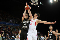 New Zealand Tall Blacks&rsquo; Tom Abercromble and China&rsquo;s Zhelin Wang in action during the FIBA World Cup Basketball Qualifier - NZ Tall Blacks v China at Spark Arena, Auckland, New Zealand on Sunday 1 July 2018.<br /> Photo by Masanori Udagawa. <br /> www.photowellington.photoshelter.com