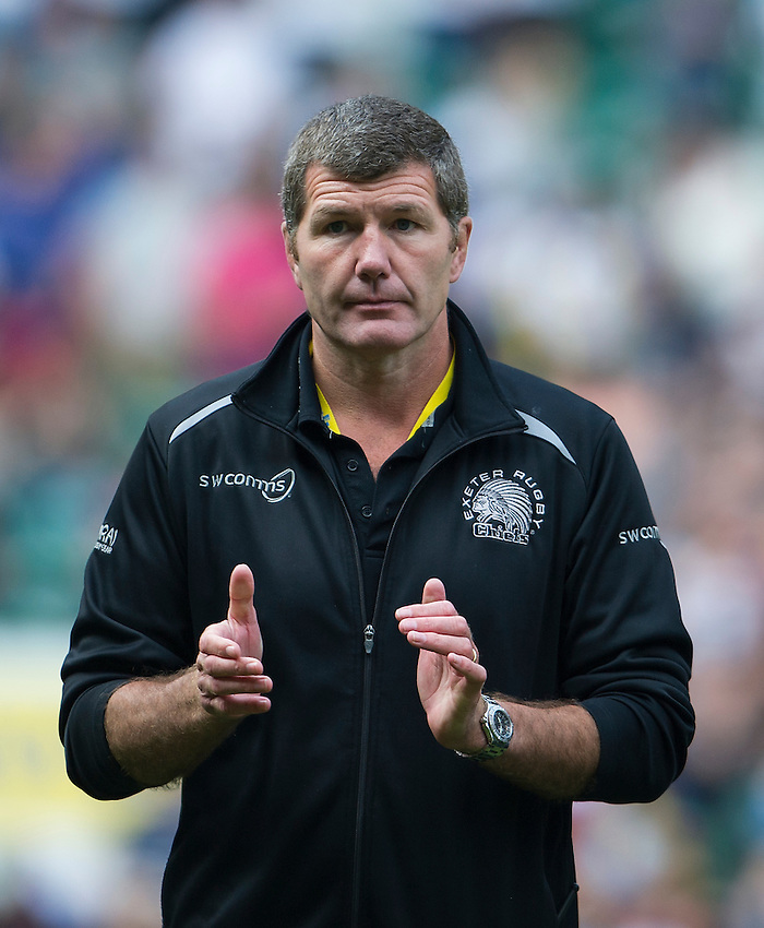 Head Coach Rob Baxter of Exeter Chiefs dejected at the final whistle<br /> <br /> Photographer Ashley Western/CameraSport<br /> <br /> Rugby Union - Aviva Premiership Final - Saracens v Exeter Chiefs - Saturday 28th May 2016 - Twickenham Stadium, Twickenham, London  <br /> <br /> World Copyright &copy; 2016 CameraSport. All rights reserved. 43 Linden Ave. Countesthorpe. Leicester. England. LE8 5PG - Tel: +44 (0) 116 277 4147 - admin@camerasport.com - www.camerasport.com