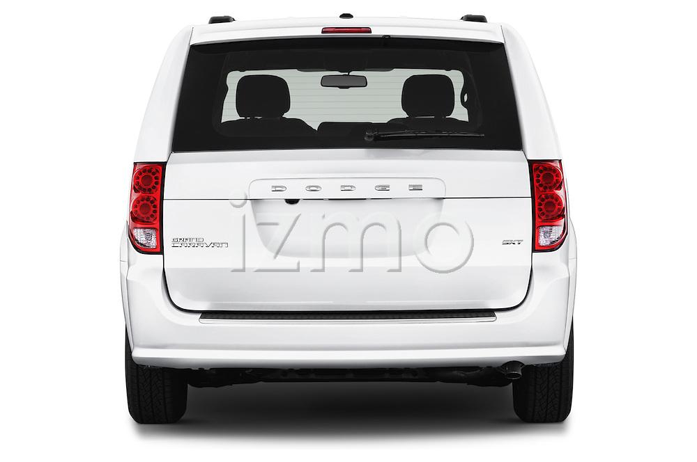 Straight rear view of 2017 Dodge Grand-Caravan SXT 5 Door Minivan Rear View  stock images