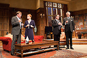 "From left: Chris Larkin as ""Bernard Woolley"", Charlotte Lucas as ""Claire Sutton, Special Policy Advisor"", Richard McCabe as ""Jim Hacker, Prime Minister"" and Simon Williams as ""Sir Humphrey Appleby"". Yes, Prime Minister by Antony Jay & Jonathan Lynn opens at the Apollo Theatre in Shaftesbury Avenue with Simon Williams as Sir Humphrey Appleby and Richard McCabe as Jim Hacker, Prime Minister."