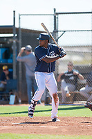 San Diego Padres center fielder Franchy Cordero (22) at bat during a rehab assignment in an Instructional League game against the Milwaukee Brewers at Peoria Sports Complex on September 21, 2018 in Peoria, Arizona. (Zachary Lucy/Four Seam Images)