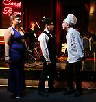 "Cassie Nadeau, Steve Tardio and Eddie Varley during the Epress preview for ""Truffles: Music! Mushroom Murder!!!"" at Secret Room on November 15, 2019 in New York City."