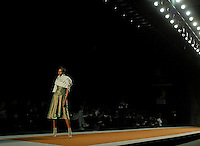 A model presents a creation by Jesus del Pozo during the Pasarela Cibeles fashion show 2005, February 16, 2005 in Madrid. Photo by Victor Fraile / studioEAST