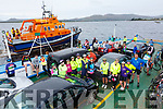 Valentia Lifeboat gave an escort to the Cyclists who took part in the Kells to Valentia Cycle on Sunday, pictured here some of the Cyclists on the Valentia Island Car Ferry.