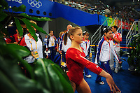 Aug. 10, 2008; Beijing, CHINA; Shawn Johnson (USA) marches onto the floor for the womens gymnastics qualification at the Olympics at the National Indoor Stadium. Mandatory Credit: Mark J. Rebilas-