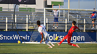 LAKEWOOD RANCH, FL - NOVEMBER 18: Dante Sealy #7 watches his shot go in the goal during a game between Turkey and U-16 USBNT at Premier Sports Campus on November 18, 2019 in Lakewood Ranch, Florida.