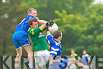 Finuge's Conor Galvin takes the ball as Annascual's Emmet Kennedy and Teo O?'Se challenge hard in the division 2 clash at Paddy Kennedy Memorial Park in Annascual on Sunday.   Copyright Kerry's Eye 2008