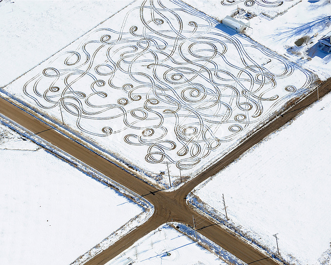 artful driving on snow covered field