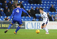 Bolton Wanderers' Zach Clough under pressure from Cardiff City's Sean Morrison<br /> <br /> Photographer Kevin Barnes/CameraSport<br /> <br /> The EFL Sky Bet Championship - Cardiff City v Bolton Wanderers - Tuesday 13th February 2018 - Cardiff City Stadium - Cardiff<br /> <br /> World Copyright &copy; 2018 CameraSport. All rights reserved. 43 Linden Ave. Countesthorpe. Leicester. England. LE8 5PG - Tel: +44 (0) 116 277 4147 - admin@camerasport.com - www.camerasport.com