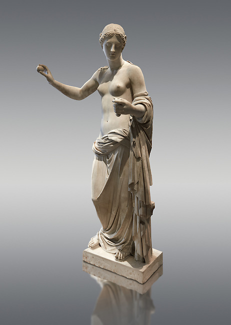 The Venus of Arles (  Greek Goddess Aphrodite) is a 1.94-metre-high (6.4 ft) marble sculpture of Venus probably a copy of the Aphrodite of Thespiae by 4th century BC Greek Athenian sculpture Praxiteles . Louvre Museum, Paris.