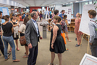 Physics professor Daniel Snowden-Ifft and Janet Morris. After researching all summer, Occidental College students present their work at the annual Summer Undergraduate Research Conference on July 29, 2015.<br /> (Photo by Marc Campos, Occidental College Photographer)