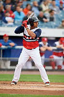 Syracuse Chiefs right fielder Moises Sierra (26) at bat during a game against the Scranton/Wilkes-Barre RailRiders on June 14, 2018 at NBT Bank Stadium in Syracuse, New York.  Scranton/Wilkes-Barre defeated Syracuse 9-5.  (Mike Janes/Four Seam Images)