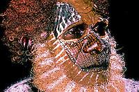 Aboriginal Elder during burial ceremony, Bathhurst Island, Northern Territory
