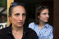 Switzerland. Canton Graubunden. Bregaglia valley. Bondo. Patrizia Guggenheim Eichelberg and her daughter Federica Eichelberg who had returned to their home had to be evacuated from the village for the second time due to a second massive landslide while the remote village was still recovering from a huge landslide caused by a giant rockslide swept down from Piz Cengalo on August 23, 2017. Patrizia Guggenheim Eichelberg  is the daughter from Willy Leopold Guggenheim, known as Varlin (16 March 1900 – 30 October 1977), who was a Jewish Swiss painter and lived in Bondo at the end of his life. 26.08.2017 © 2017 Didier Ruef