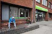 Unemployed young men outside Matgate Job Centre.