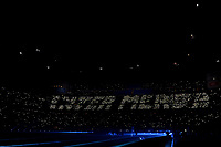 Milan fans write with lights the phrase Inter shit <br /> Milano 09/02/2020 Stadio San Siro <br /> Football Serie A 2019/2020 <br /> FC Internazionale - AC Milan <br /> Photo Andrea Staccioli / Insidefoto