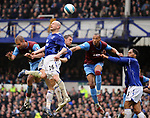 John Carew of Aston Villa eyes up the ball as Everton fail to cear the ball during the Premier League match at Goodison Park  Stadium, Liverpool. Picture date 27th April 2008. Picture credit should read: Simon Bellis/Sportimage