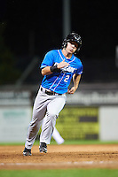 Hudson Valley Renegades left fielder Landon Cray (2) running the bases during a game against the Batavia Muckdogs on August 2, 2016 at Dwyer Stadium in Batavia, New York.  Batavia defeated Hudson Valley 2-1.  (Mike Janes/Four Seam Images)
