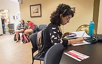 NWA Democrat-Gazette/J.T. WAMPLER Stephanie Azenon of Rogers studies biology Tuesday Sept. 8, 2015 at Burns Hall at Northwest Arkansas Community College.