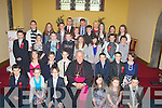 Delighted to be confirmed on Friday in the Church of the Purification,Churchill by the Bishop of Kerry Bill Murphy, were pupils from Spa National School. Front l-r: Mark Mooney, Sinead O'Callaghan, Anthony O'Doherty, Si?le Gaynor, Holly Marsden and Chloe Hall. 2nd row l-r: Saidhb O'Carroll, Max Benner, Kelan Crowe, The Bishop of Kerry Bill Murphy, Jack Kelliher, Sea?n Tansley and Katie McCarthy.3rd row l-r: Darren Daly, Ailbhe Foley, Max Tyrrell, Conor Lynch, Sophie Browne, Sarah Lenihan, Ryan Dolan, and Sea?n Higgins. 4th row l-r: Ciara?n Fitzgerald, Maeve Carmody, Pa?draig Griffin, Katie Ellard, Karl Sheehy, Rebecca Kelly, Anna Farrell and Rachel Healy. Back l-r: Pater Linehan (teacher), Tom Crowley )(principal) and Geraldine O'Carroll (teacher).................................. ....