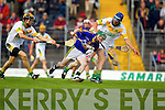 James Flaherty Lixnaw in action against Sean Dowling Kilmoyley in the County Senior Hurling final at Austin Stack Park on Saturday.