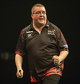 09.04.2015. Sheffield, England. Betway Premier League Darts. Matchday 10.  Stephen Bunting [ENG] celebrates a big score against Michael van Gerwen [NED]