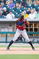Antoan Richardson (17) of the Scranton/Wilkes-Barre RailRiders at bat against the Charlotte Knights at BB&T Ballpark on July 17, 2014 in Charlotte, North Carolina.  The Knights defeated the RailRiders 9-5.  (Brian Westerholt/Four Seam Images)