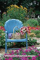 63821-080.16 Cut bouquet in basket on blue chair in flower garden  Marion Co.  IL